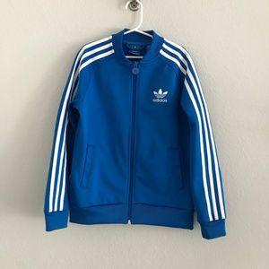 Adidas bright blue track jacket trefoil sz small